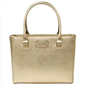 Kate Spade Gold Leather Quinn Wellesley Tote Bag